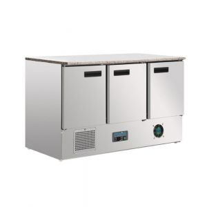 Polar 3 Door Refrigerated Counter with Marble Work Top 368L