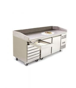 Atosa Pizza Prep Counter Fridge 2 Door 7 Drawers 485 Litre