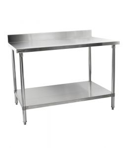 Stainless Steel Table With Backsplash Width 1200 mm