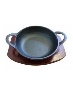 Cast Iron Balti With Wood Base - 13cm