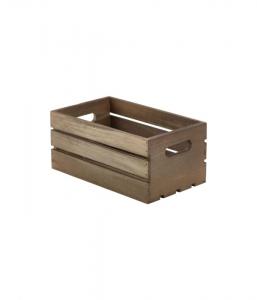 Dark Rustic Deep Wooden Crate - 27 X 16 X 12cm