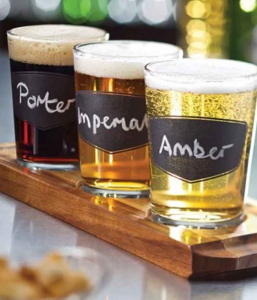 Craft Beer Tasting Drinks Flight with Labels