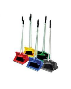 Lobby Dustpan & Brush Set Long Handled-Yellow
