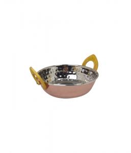 "Stainless Steel Kadai Copper Dish - 17cm/6.5"""