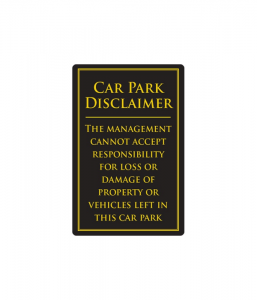 Car Park Disclaimer Gold/Black