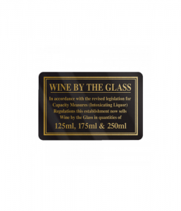 Wine By Glass 125,175, & 250ml. Gold On Black.